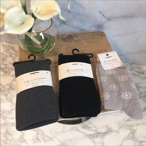 🆕 Loft Set of 3 Tights and Fleece Socks NWT Sz. M